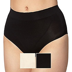 Debenhams - Pack of two black high leg shaping briefs