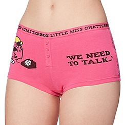 Debenhams - Pink 'Little Miss Chatterbox' cotton boxers
