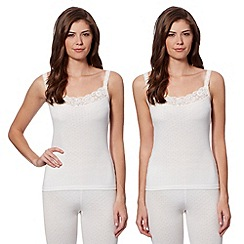 Debenhams - Pack of two cream thermal camisoles