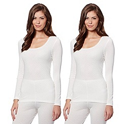 Debenhams - Pack of two cream thermal tops
