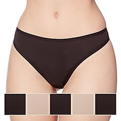 Debenhams - Pack of five black microfibre thongs