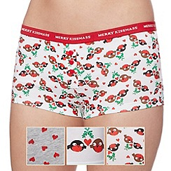 Debenhams - Set of three red Christmas robin and heart printed cotton boxer shorts