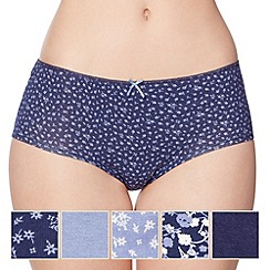 Debenhams - Pack of five cotton navy floral shorts