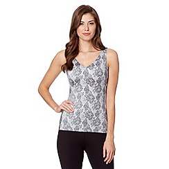 Debenhams - Grey lace printed light control shaping vest