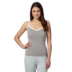 Debenhams - Grey striped super soft modal blend vest