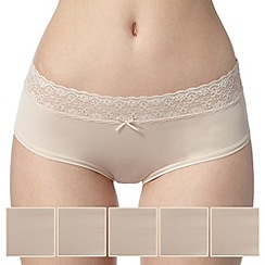 Debenhams - Pack of five natural lace trim no VPL shorts