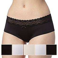 Debenhams - Pack of five black, natural and white lace trim no VPL shorts