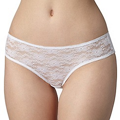 Debenhams - Pack of five white lace bikini briefs