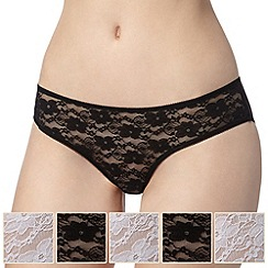 Debenhams - Pack of five black and white lace bikini briefs