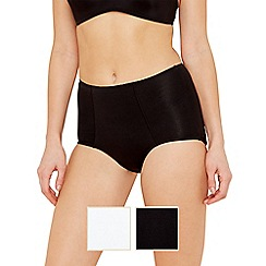 Debenhams - Pack of 2 black and white cotton high leg shaping briefs
