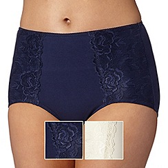 Debenhams - Pack of two navy cotton lace shaping briefs