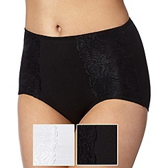 Debenhams - Pack of two black cotton shaping briefs