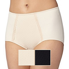 Debenhams - Pack of two black and natural light control shaping briefs