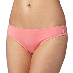 Debenhams - Peach lace back 'invisible' brazilian briefs