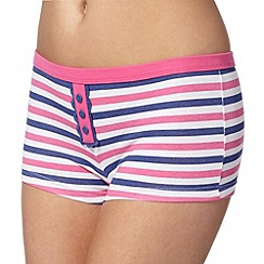 Debenhams - Pink striped lace detail boxers