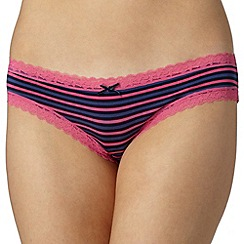 Debenhams - Pink striped lace brazilian briefs