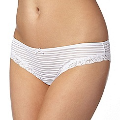 Debenhams - White burnout striped brazilian briefs