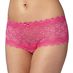 Debenhams - Bright pink lace thong shorts