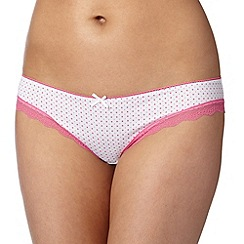 Debenhams - Bright pink spotted lace microfibre brazilian briefs
