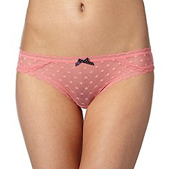 Debenhams - Peach spotted mesh brazilian briefs