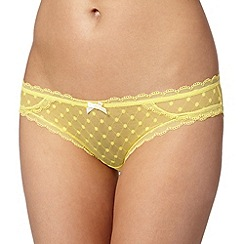 Debenhams - Yellow spotted mesh brazilian briefs