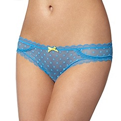 Debenhams - Blue spotted mesh brazilian briefs