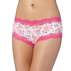Debenhams - Bright pink cotton and lace floral shorts