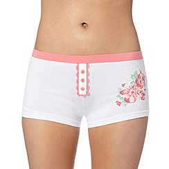 Debenhams - Peach lace placket boxer shorts