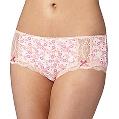 Debenhams - Light peach floral lace trim shorts