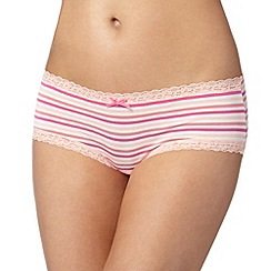 Debenhams - Pink striped lace shorts