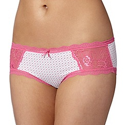 Debenhams - Bright pink spotted lace microfibre shorts