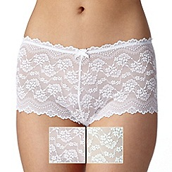 Debenhams - Pack of two pale green and white lace shorts