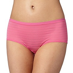 Debenhams - Bright pink burnout striped 'invisible' shorts