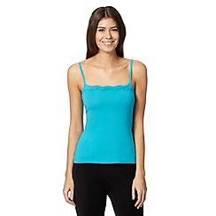 Debenhams - Turquoise plain lace trim vest