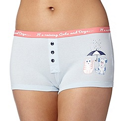 Debenhams - Light blue 'It's raining cats and dogs' boxers