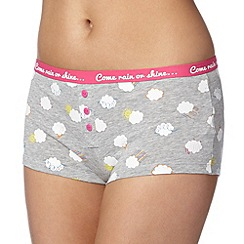Debenhams - Grey 'Come rain or shine' boxers