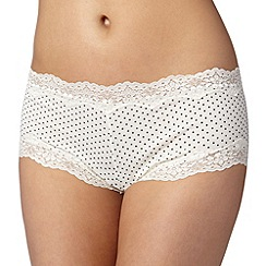 Debenhams - Cream spotted lace trim shorts