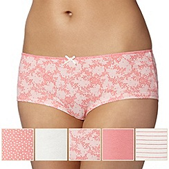 Debenhams - Pack of five coral and lace shorts