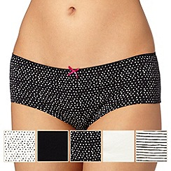 Debenhams - Pack of five black spot and stripe shorts