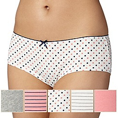 Debenhams - Pack of five peach and grey shorts