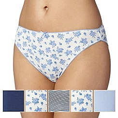 Debenhams - Pack of five classic blue floral high leg briefs