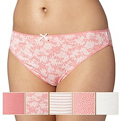 Debenhams - Pack of five coral and lace high leg briefs