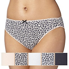 Debenhams - Pack of five pale pink animal print high leg briefs