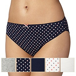 Debenhams - Pack of five high leg navy coral spot briefs