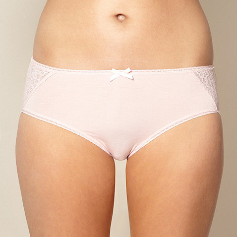 Debenhams - Pink lace trim high leg briefs