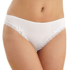 Debenhams - White lace trim microfibre high leg briefs