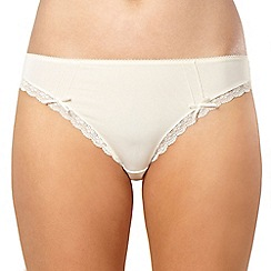 Debenhams - Cream lace trim microfibre high leg briefs