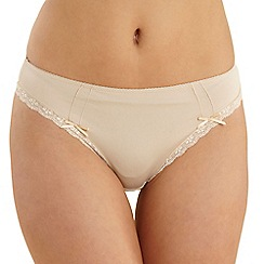 Debenhams - Natural lace trim microfibre high leg briefs