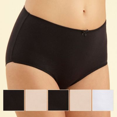 Pack of five black, white and natural full briefs