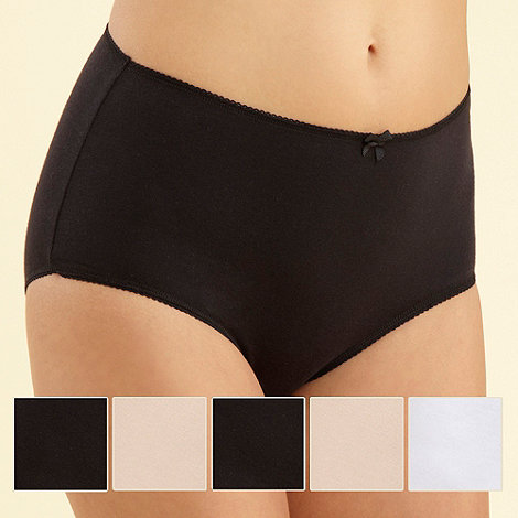 Debenhams - Pack of five cotton black, white and natural full briefs